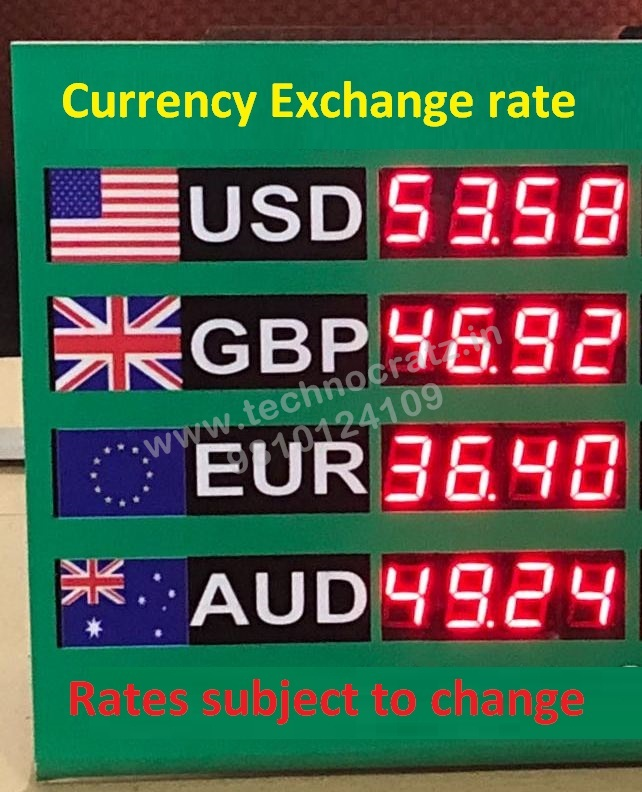 LED Currency exchange rate display, LED forex display manufacturer New Delhi