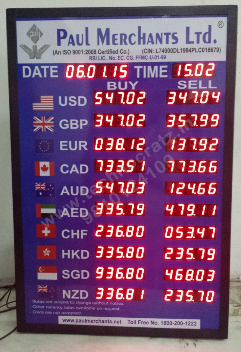 LED currency exchange display, LED currency display, LED forex display