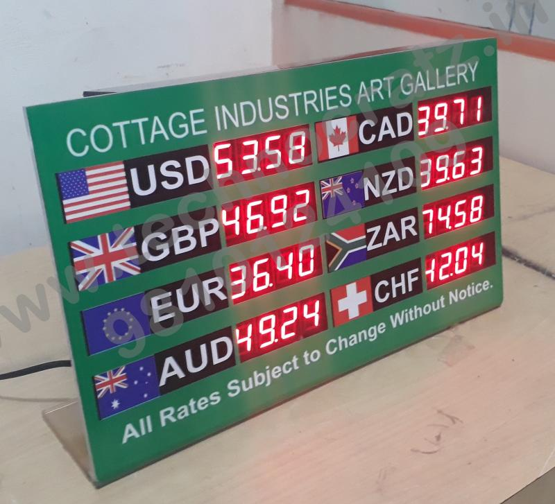 LED Currency exchange rate display, Forex display manufacturer Bengaluru, India