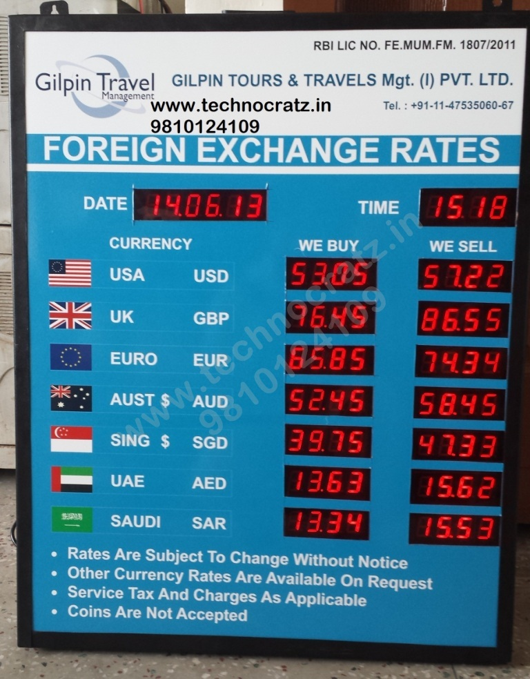LED Currency exchange rate display, Forex display manufacturer Chennai, India