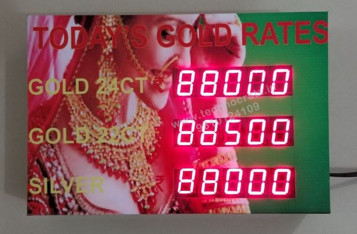LED Gold rate display, LED silver rate display manufacturer Delhi, Mumbai India
