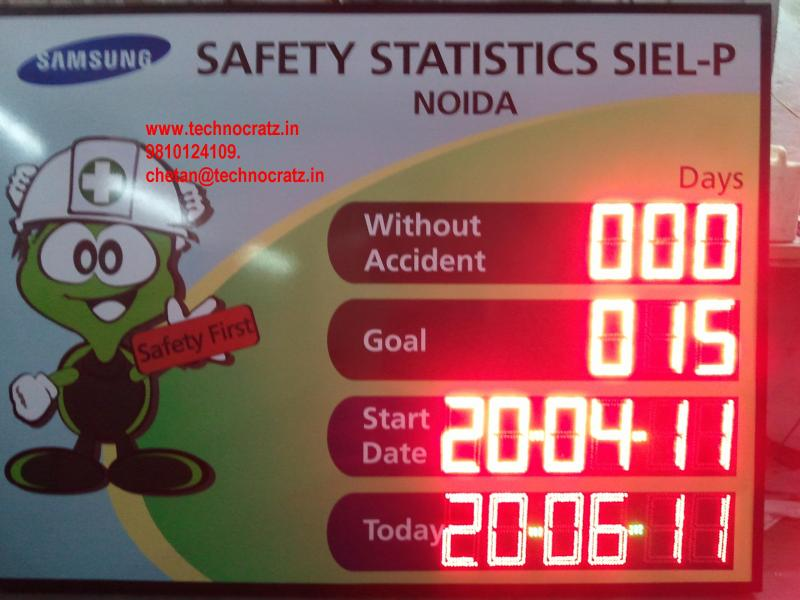 LED industrial safety data display, Industrial accident data display, Andon LED