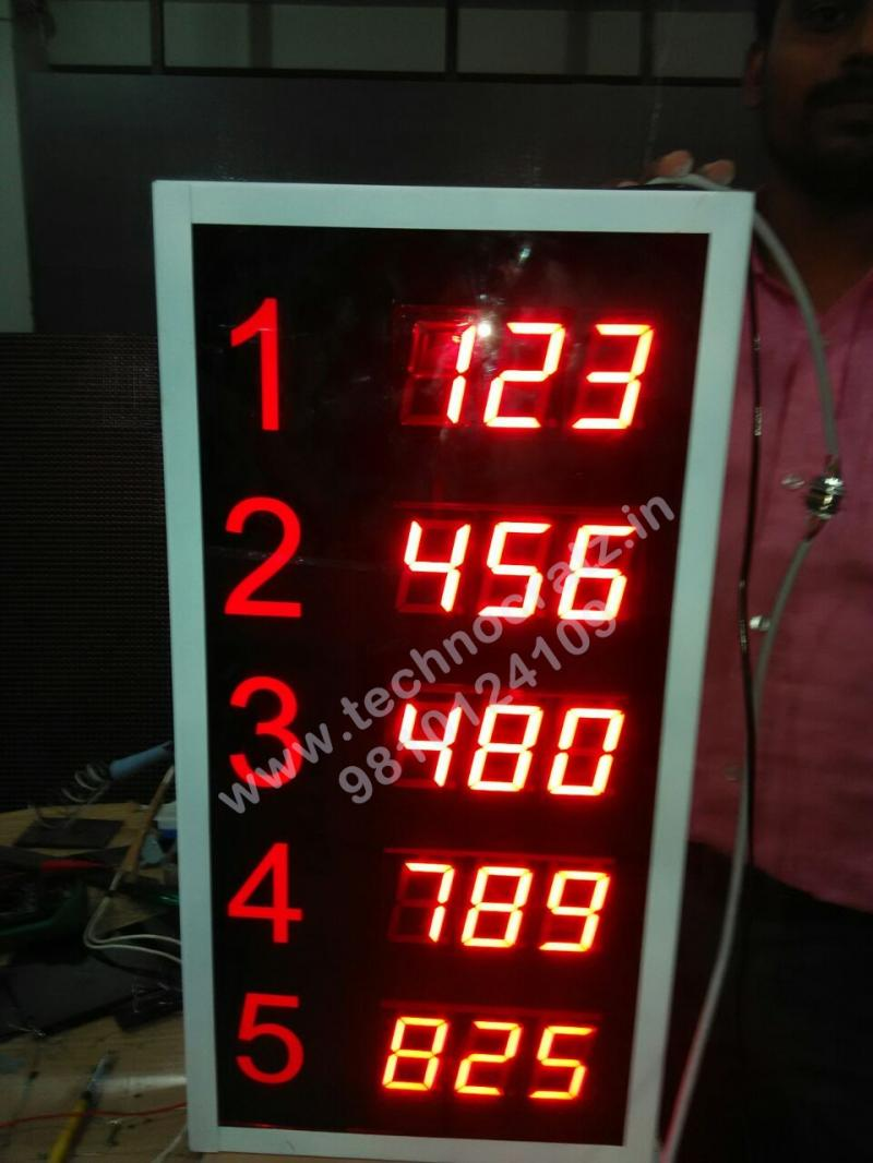 LED Token Display, LED token number display with 3 digit 5 sets. New Delhi India
