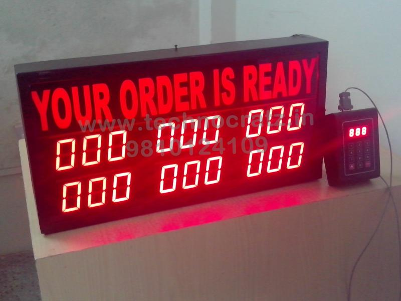 LED Token Display, LED token number display with 3 digit 6 sets. New Delhi India