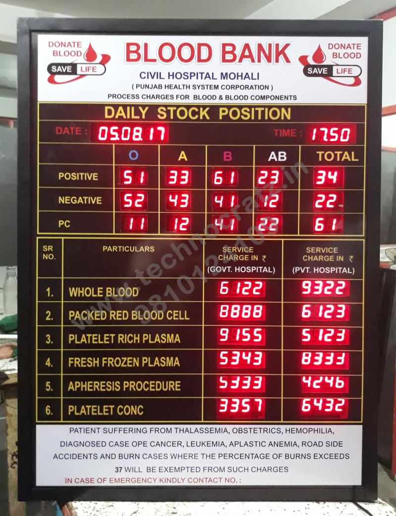 LED stock display for blood bank, LED commodity data display New Delhi, India