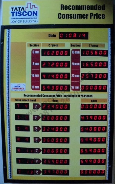 LED rate display, LED rate list display, LED price list display, New Delhi, Indi
