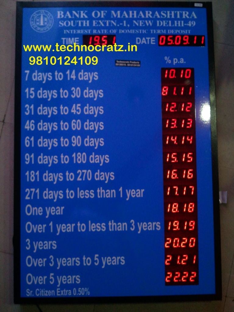 LED Bank rate of interest display manufacturer New Delhi, Pune, Bengaluru, India