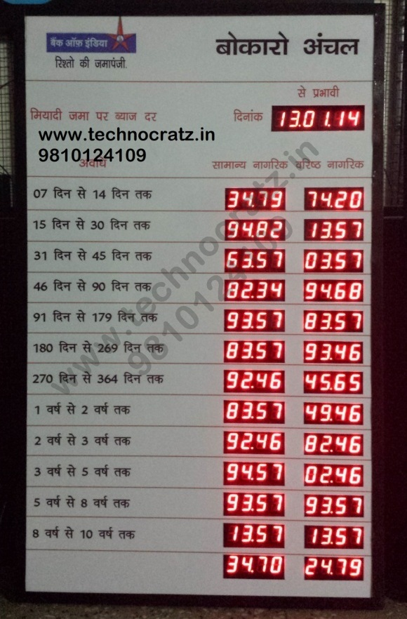 LED Bank rate of interest display manufacturer New Delhi, Bhubneshwar, Goa India