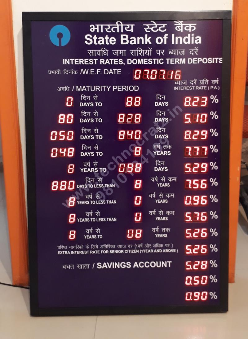 LED Bank rate of interest display manufacturer New Delhi, Mumbai, Chennai, India