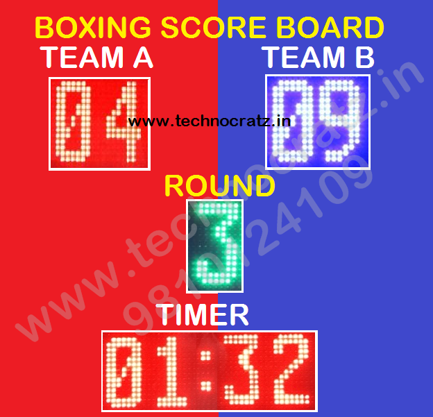 LED Boxing scoreboards, Boxing scoreboard manufacturer New Delhi, India